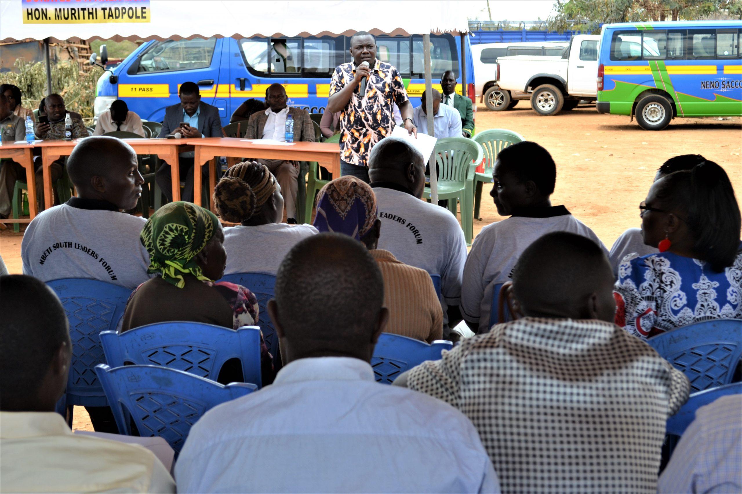 Deputy-Speaker-Steve-Simba-Runyenjes-Central-MCA-Addressing-Mbeti-South-ward-residents-at-Muraru-Market-During-a-Public-Participation-Forum-
